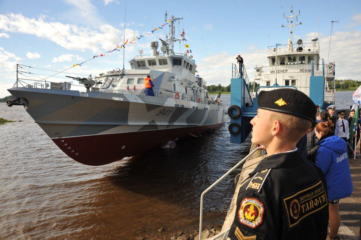 ВРыбинске спустили наводу противодиверсионный катер