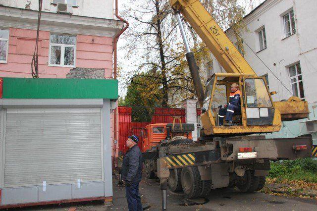 Зону ЮНЕСКО Ярославля очищают отнезаконно установленных ларьков